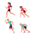 set of runners male and female running and vector image