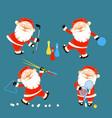 set of santa claus playing sports games vector image vector image
