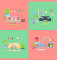 set of various room interiors banners flat design vector image