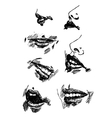 Set pencil drawing lips Realistic sketch vector image