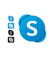 skype editorial logo set vector image