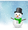 snowman on snow background vector image vector image