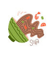 spilled soba noodle soup japanese dish with vector image vector image