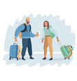 stylish young man and woman are tourists vector image