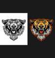 tiger head front view two styles black on white vector image