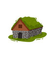 traditional icelandic stone house with a peat roof vector image vector image