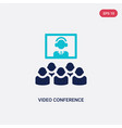 two color video conference icon from human vector image