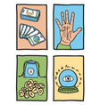 various types of fortune telling vector image vector image