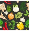 vegetable pattern with herbs on dark vector image vector image