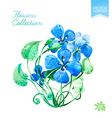 watercolor blue flowers vector image vector image