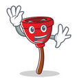 waving plunger character cartoon style vector image