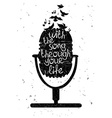 Hand drawn musical with silhouette of microphone vector image