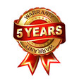 5 years warranty golden label with ribbon vector image vector image