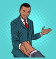 african businessman shaking hands vector image