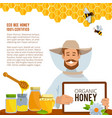 at beekeeping theme poster vector image vector image