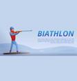 biathlon shooting concept banner cartoon style vector image vector image