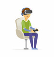 boy wearing virtual reality glasses - cartoon vector image