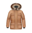 brown winter coat vector image vector image
