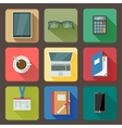 Business set of workplace icons vector image