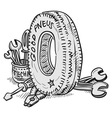 Car Tire and Tools vector image vector image