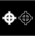 celtic cross white superiority icon set white vector image