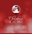 christmas night party snowman background vector image