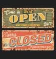 closed and open metal plate rusty shop door board vector image
