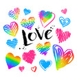 collections of grunge rainbow colored hearts vector image