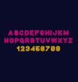 colorful of stylized modern font and alphabet vector image