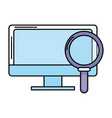 computer and magnifying glass vector image