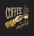 cup coffee in hand logo and emblem for shop vector image vector image