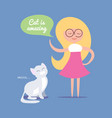 cute clever blond girl with happy cat vector image
