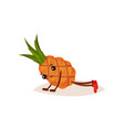 cute humanized pineapple doing push ups cartoon vector image vector image