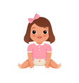 cute little baby girl sitting on the floor stage vector image vector image