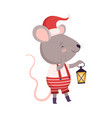 cute mouse in santa hat standing with lantern vector image