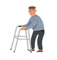elderly man old man character with paddle walker vector image vector image