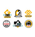 excavator logo design collection construction vector image