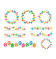 frames and borders with colored eggs for easter vector image
