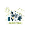 Fresh natural milk eco farm logo with cow vector image