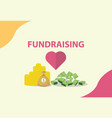 fundraising concept with heart and money as vector image