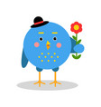 funny cartoon bird character standing with flower vector image vector image