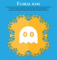 Ghost icon sign Floral flat design on a blue vector image vector image