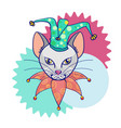head cat in the hat jester circus cat abstract vector image vector image