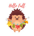 hedgehog holding autumn colorful leaves vector image vector image