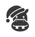 hippo wearing santa hat silhouette icon design vector image vector image