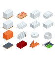isometric building products icons ferro-concrete vector image