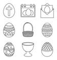 line art black and white easter eggs set vector image vector image