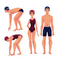 male and female swimmers standing upright and vector image vector image