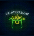 neon glowing sign of leprechaun hat with gold vector image