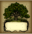 oak tree with a banner vector image vector image